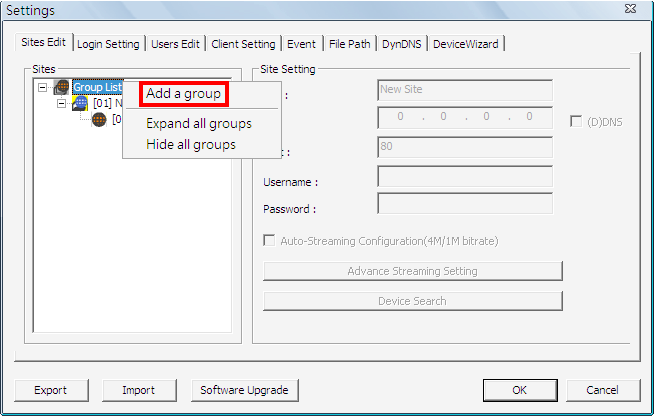 6.1 Sites Edit VSS supports up to 10 groups. Users can add at most 32 IP devices to each group. If more than 32 channels are added, an error message will be displayed.