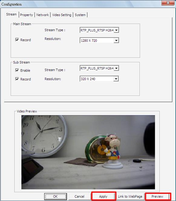 Please note that the Configuration Menu window will only be available when the IP camera is currently connected.