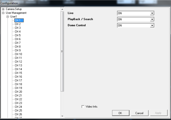 8.3.4 Configuration Menu The Configuration Menu is for users to remotely setup and view the information of IP cameras. Besides, users can view and configure User Management under this menu.