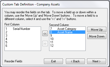 All of the data should now be displayed on the Tab Definition window.