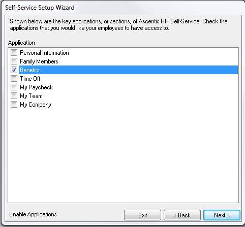 Select the Benefits checkbox to enable employee