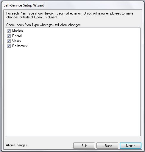 Plan Associations screen - You have the option to re-order how you want to have the employees run through the wizard.
