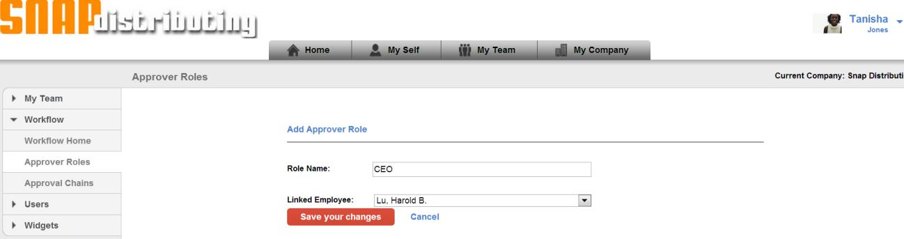 Click Create New Role. Name the new Role CFO and link to employee Harold Lu.