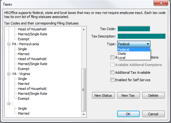 Setup Manager>Setup>Taxes To create a new tax code: Click New Tax Enter a Tax