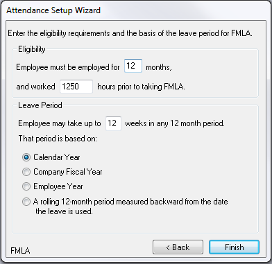 Setting up FMLA To setup FMLA for your Company you use the Attendance Setup Wizard.