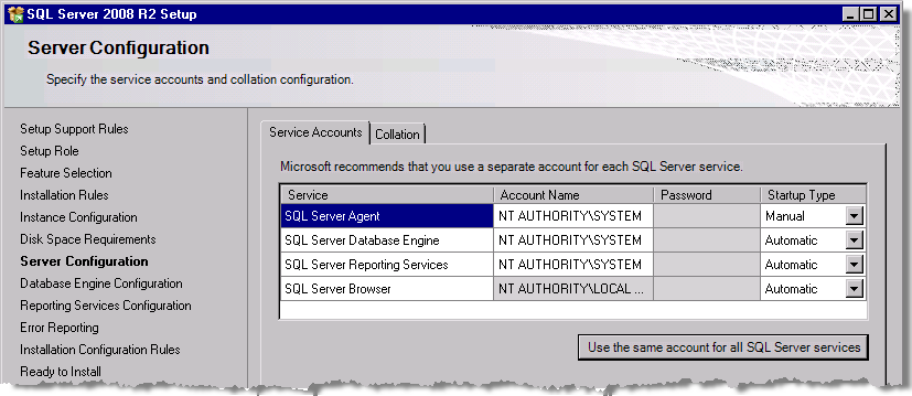 Installing SQL Server StruxureWare Power Monitoring 7.0.1 Installation Guide 9. Select Use the same account for all SQL Server services to open the dialog. 10.