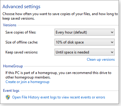 them to a Windows Library. Likewise, you can exclude files and folders from File History by removing them from a library.
