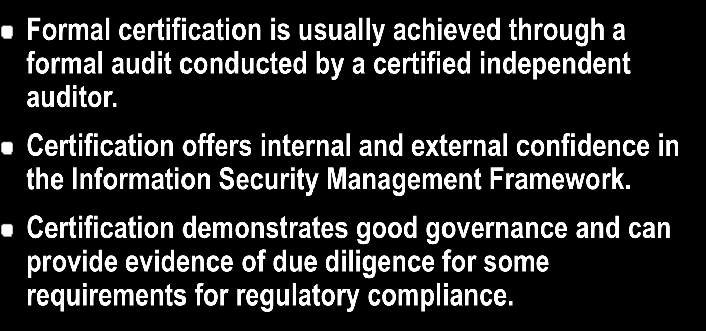 Compliance and Certification To achieve compliance the organization must implement measures to address all control objectives.