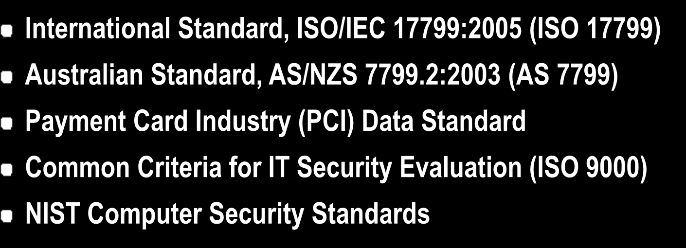 Industry Accepted Security Standards Some of the more commonly accepted and implemented standards include: International Standard, ISO/IEC 17799:2005 (ISO 17799)