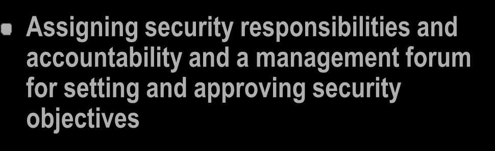 Security Control Objectives - 1 Security Policy: Documented security objectives for the organization that is agreed and approved by management Security