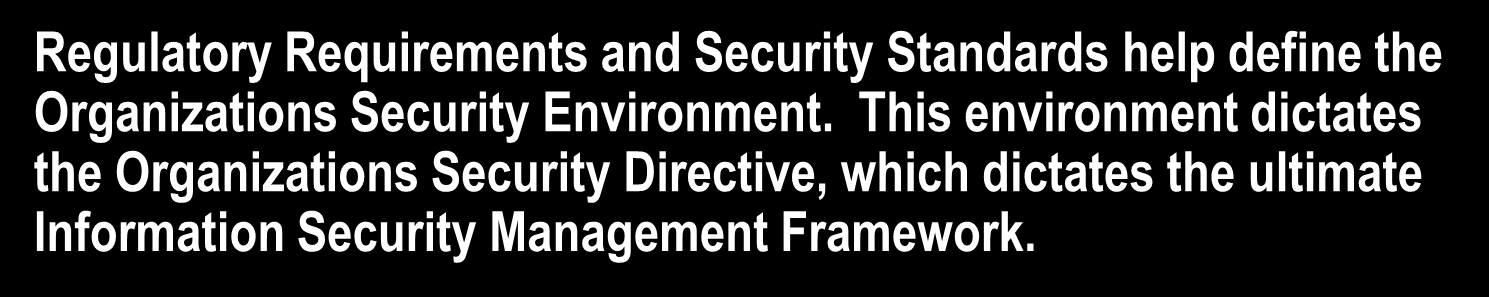 Information Security Management Framework Flow Regulatory Requirements and Security Standards help define the Organizations Security Environment.