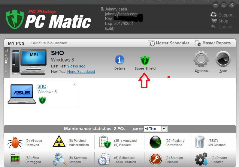 Manage SuperShield Cont d You may also open PC Matic and access