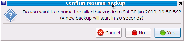 Resuming a backup By default, the Backup Client tries to connect to the Storage Platform four times before cancelling the backup process.
