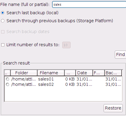 To restore files from the Find Files in Backup dialog box: 1.
