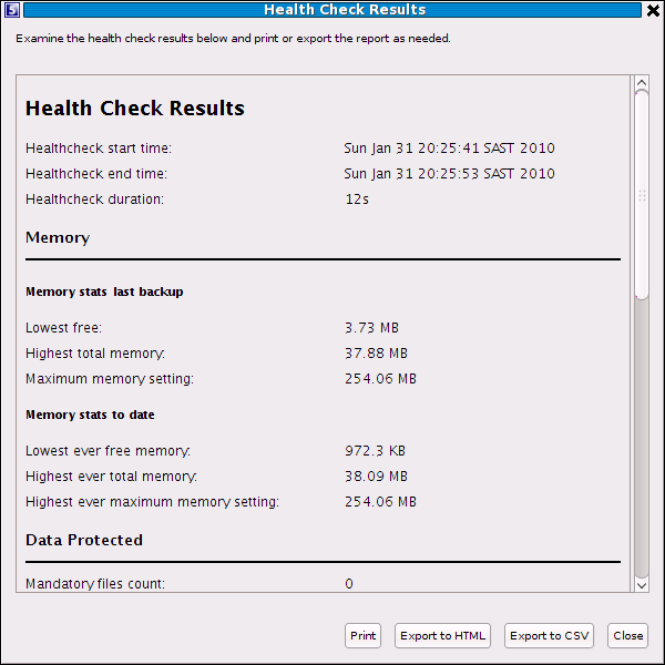 The Health Check results display in a new dialog box with options to print,