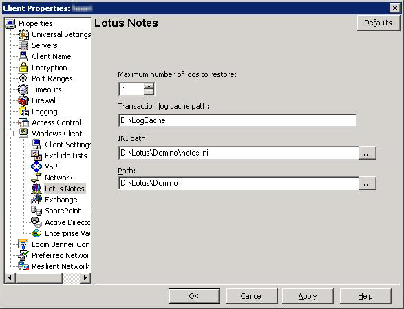 32 Configuring NetBackup for Lotus Notes Defining properties for a Lotus Notes client Figure 3-1 Lotus Notes dialog box The following properties can be configured in the NetBackup Administration