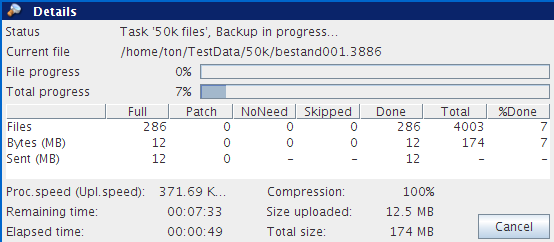 5.2.9 Backup progress Figure 14: MySQL backup plugin The backup process can be monitored by clicking on Details at the bottom of the application during the process of a backup (the details screen