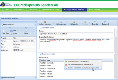 EU-Brazil OpenBio Support to biodiversity communities ENM Service (OMWS2) VENUS-C Cloud Middleware COMPSs Workflow Orchestrator OCCI CDMI EGI Federated Cloud Integration of the EUBrazilOpenBio