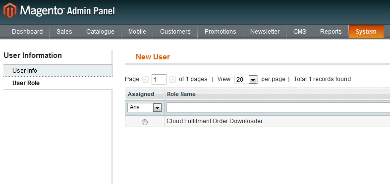 2.1.2 Set User Info Now set the user to use the Cloud Fulfilment Order Downloader role as per 2.1.3 Set User To Cloud Fulfilment Order Downloader. 2.1.3 Set User To Cloud Fulfilment Order Downloader 3.