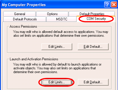 6. Click the Default Properties tab and make sure the Enable Distributed COM on this computer check-box is checked and Connect is selected from the Default Authentication Level