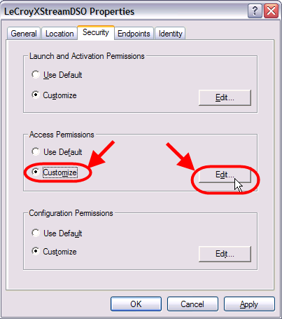 15. In the Launch Permissions dialogue, verify that for all permissions the Allow checkbox is checked. 16.