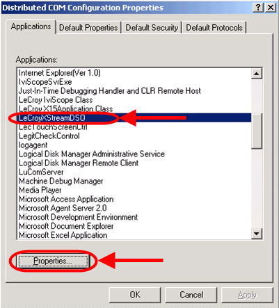 PC and Oscilloscope ARE on the Same NT Domain Select Connect, None, or Default on the Default Authentication Level field.