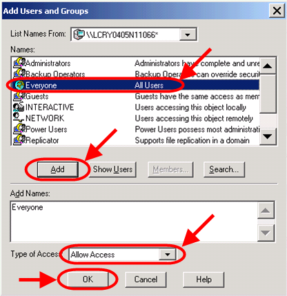 11. The Registry Value Permissions dialog is shown. If the Everyone name DOES NOT have Allow Access permission, click the Add button. 12. The Add Users and Groups dialog is shown.