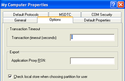 5. Click the Options tab on the Properties display, set the Transaction timeout to 0, and click the Apply button.