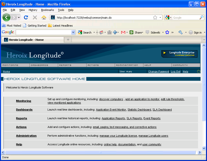 Step 4: Access the Heroix Longitude Web UI 6 After you have performed the installation, please wait 1-3 minutes for the Longitude services to start.