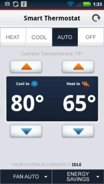 The Smart Thermostat screen displays: Tap Heat to set your system s operating mode to Heat. The heating system will turn on when the temperature drops below your Heat setpoint.
