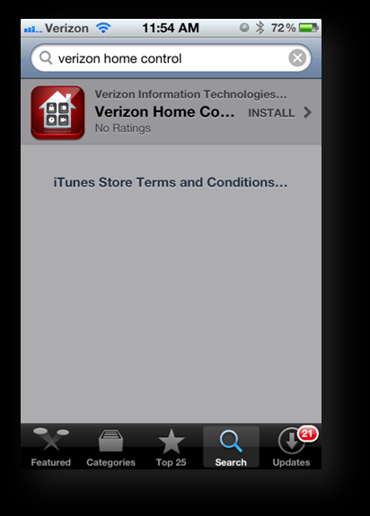 2. Tap the Search button. The Verizon Home Control app displays in the search results list: 3.