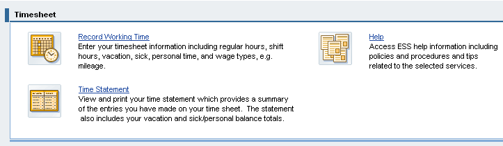 TIMESHEET ENTRY (HOURLY) This quick reference card provides instructions for hourly employees on entering their hours using the ESS Record Working Time service.