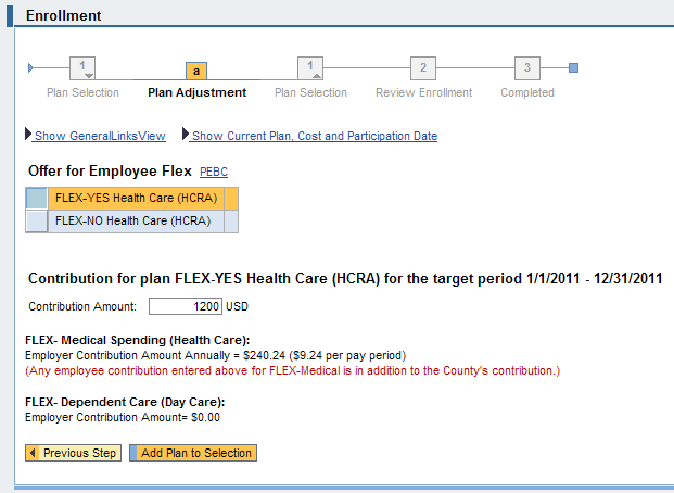 Step 4. Click the radio button for the desired spending account type (ex: FLEX NO Health Care (HCRA)) (highlighted above). Step 5. Click the button (highlighted above).