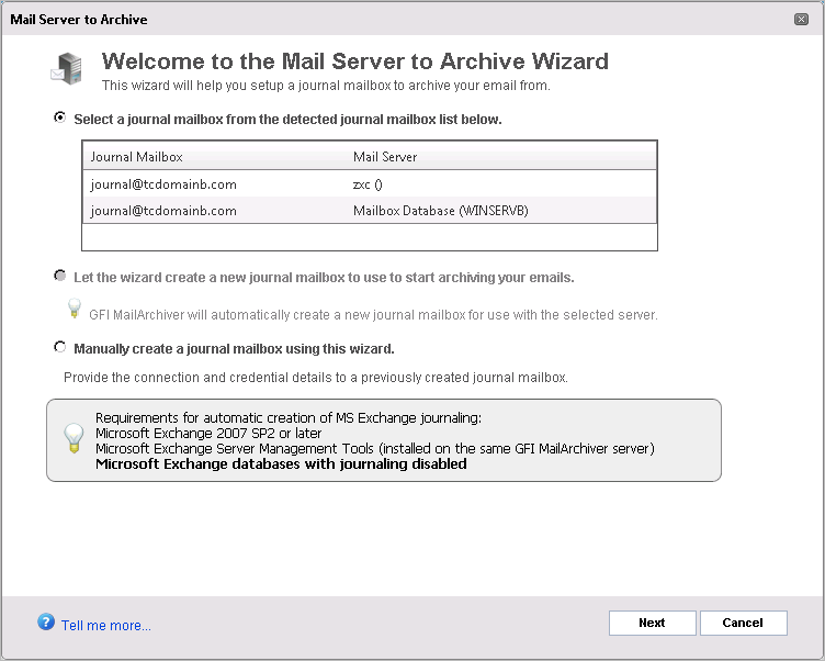 Screenshot 60: Choose how you want the wizard to setup GFI MailArchiver to use a journal mailbox. 3.