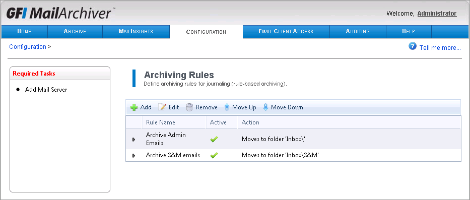 Screenshot 62: Configuring Archiving Rules GFI MailArchiver applies rules from top to bottom of the list. Rules can be moved up or down the list using the provided arrows.