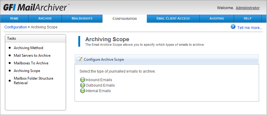 Screenshot 65: Configuring email archive restrictions. 2.