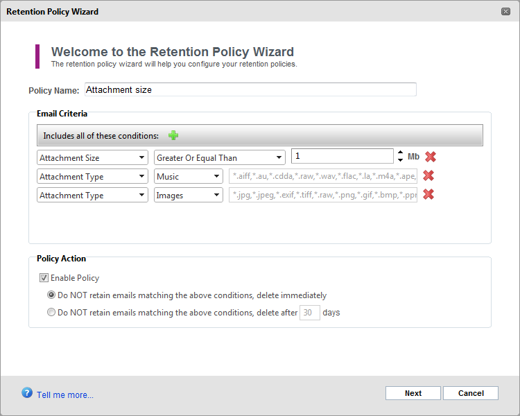 Screenshot 80: Retention Policy details 4. In the Retention Policy Details screen, key in the details for the new retention policy and click Next.