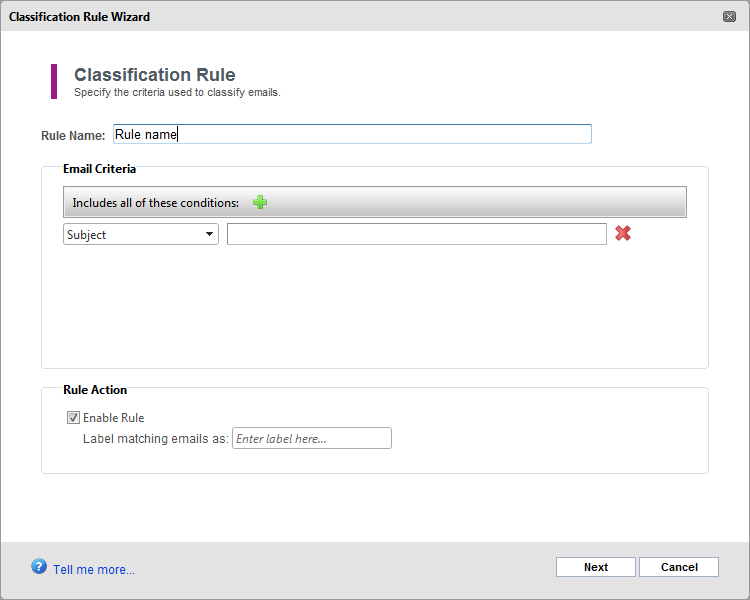 Screenshot 82: Categorization rule details 3. Key in a rule name in the Policy Name field and configure the criteria that emails have to fulfill to fall under this classification rule.