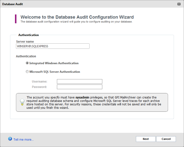 7.13.1 Configuring Database Activity Auditing 1. Select Configuration tab click Auditing. 2. Click Configure. Screenshot 83: Select authentication method 3.