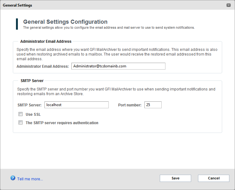 Screenshot 86: General Settings 3. Perform all the required modifications from the list of available options.