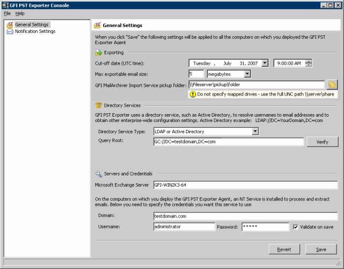 Screenshot 99: GFI PST Exporter: general settings 3. In the Cut-off date (UTC time) field, specify a cut-off date and time. Only emails dated prior to this date and time are extracted.
