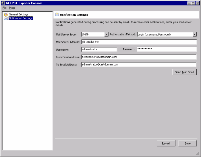 Screenshot 101: GFI PST Exporter: notification settings 3. From the Mail Server Type drop down list, select SMTP. 4. Specify the Authorization Method applicable for your mail server. 5.