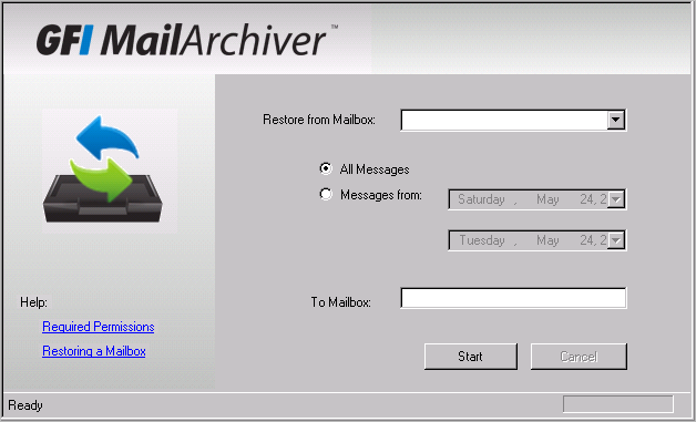 10 Restoring Mailboxes GFI MailArchiver provides you with the facility to restore emails archived within GFI MailArchiver Archive Stores to a Mailbox in Microsoft Exchange Server.