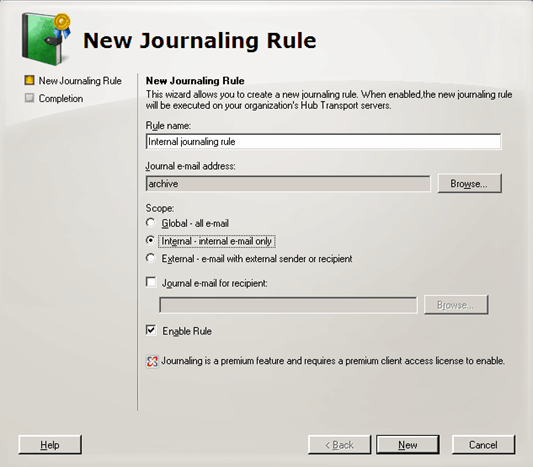 Screenshot 131: Creating a new Journaling rule 4. Key in a name for the new rule and click Browse.