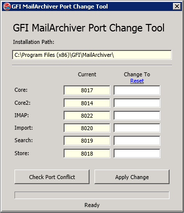 15 Appendix 3 - Using the Port Changing Tool The Port Changing Tool enables you to check for port conflicts on the server where GFI MailArchiver is installed and change remoting ports quickly and