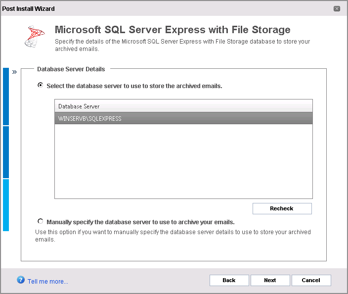 Screenshot 6: Archive Store creation: Select database 1. In the Database Server Details screen, choose an SQL Server from the list of automatically discovered servers or manually provide the details.