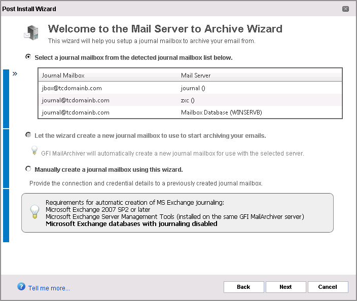 Screenshot 10: Journal Mailbox wizard 2. Select whether to automatically create a new Journal Mailbox or to manually specify all Journal Mailbox details.