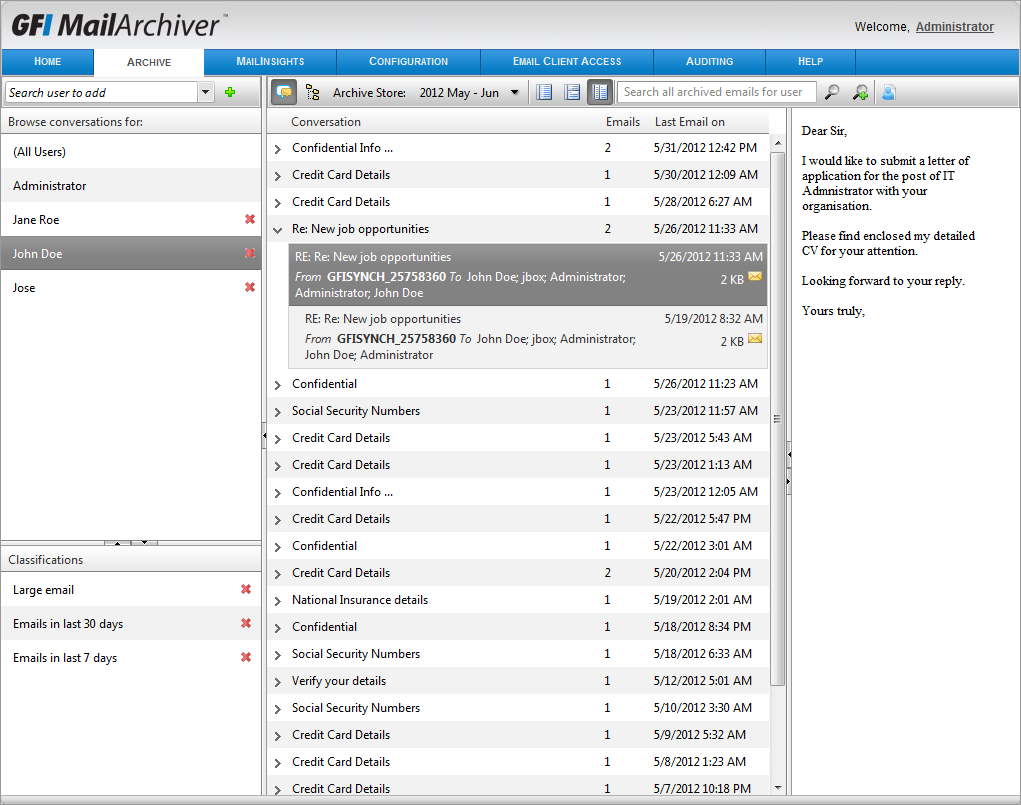 Screenshot 21: Accessing multiple mailboxes To view archived emails for a different mailbox: 1. Key in the name of the mailbox for which to view emails in the Search users to add search box.