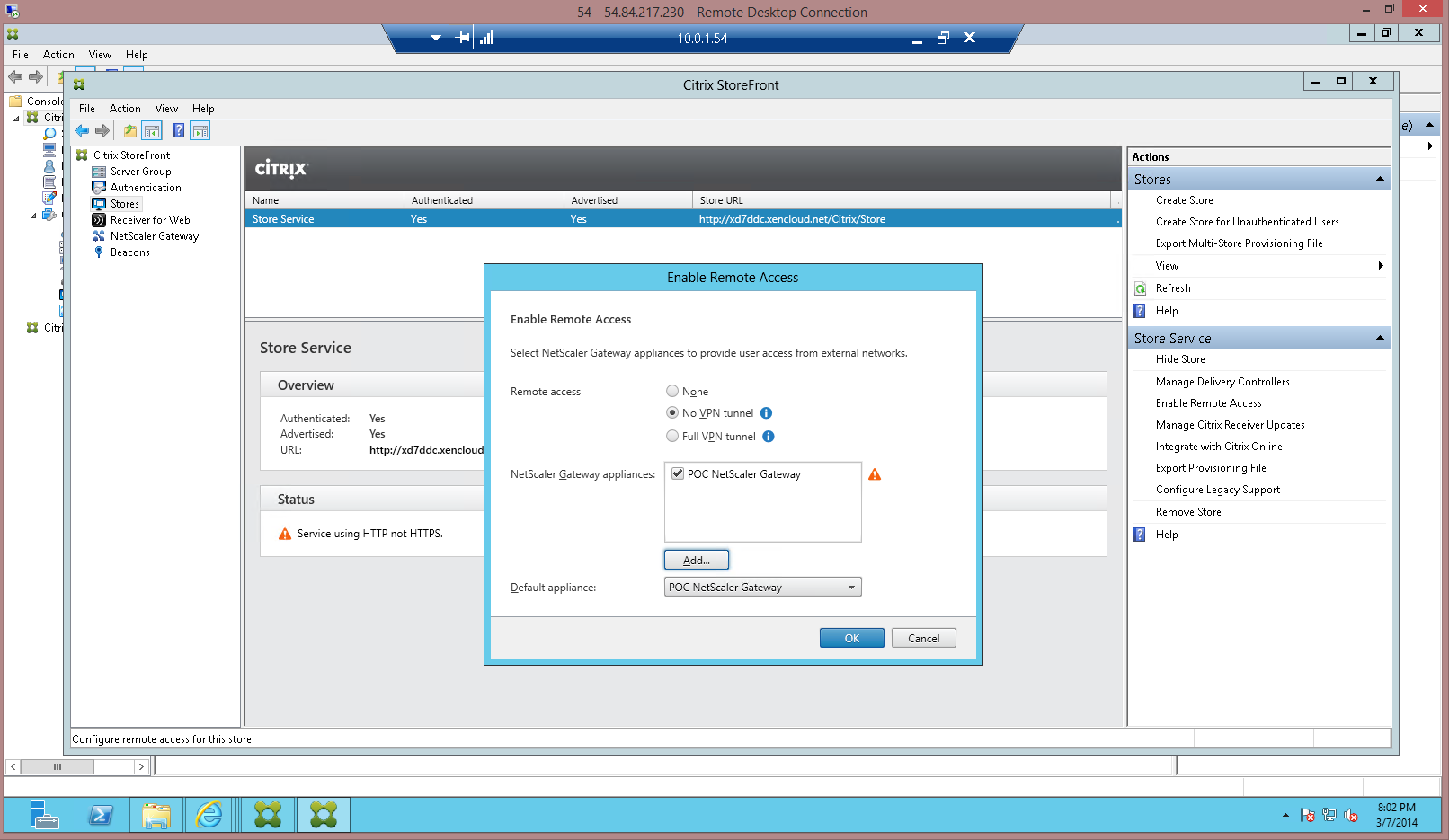 4. Click OK, and then click Create to complete the NetScaler Gateway definition for StoreFront. 5.