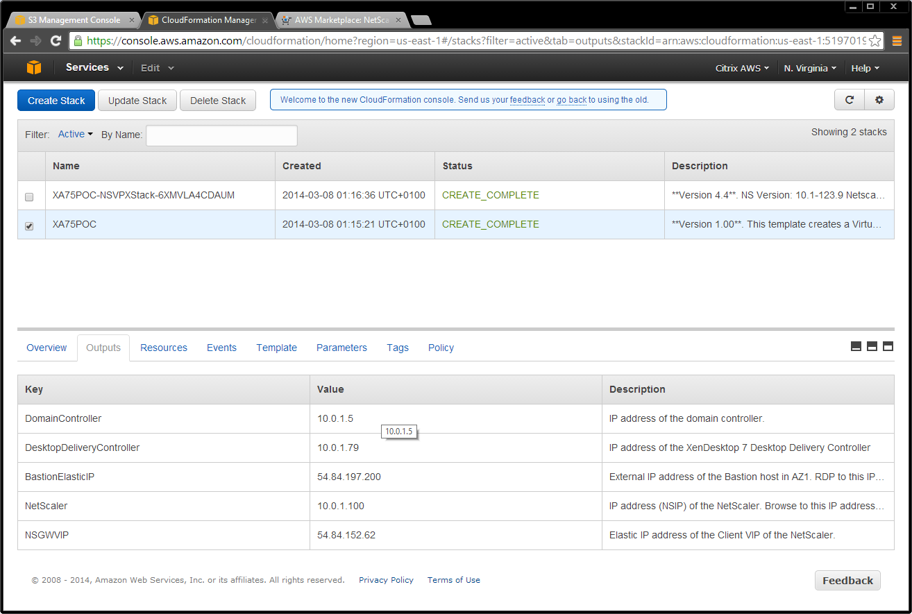 3. Look up the elastic IP address for your VIP using the EC2 console.